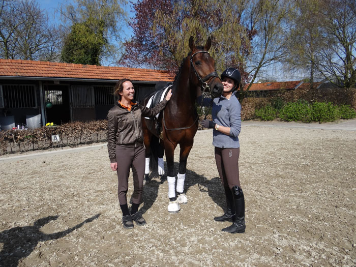 Sian helping Swedish dressage rider